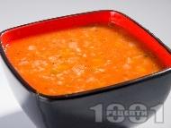 Доматена крем супа с ориз, моркови и босилек